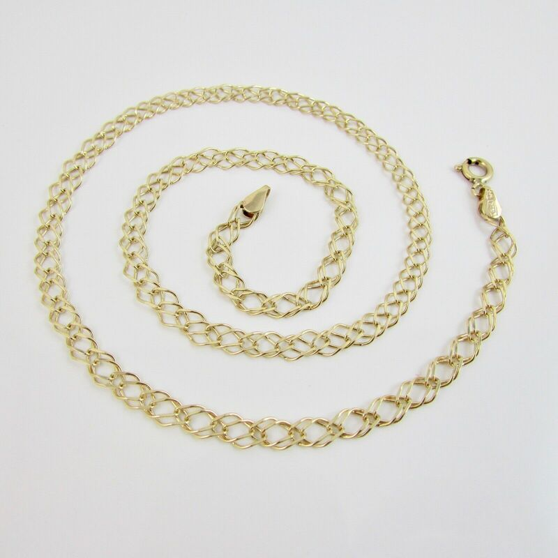 9ct Yellow Gold 375 Double Parallel Link Chain Necklace 16