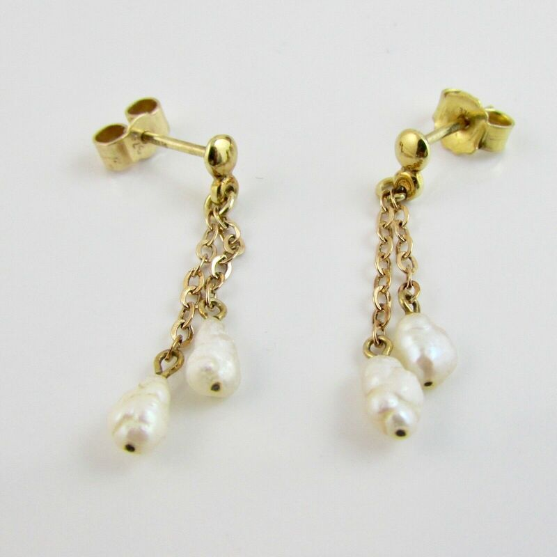 9ct Yellow Gold 375 Natural Pearl & Chain Link Drop Earrings Full Hallmark 1.4g