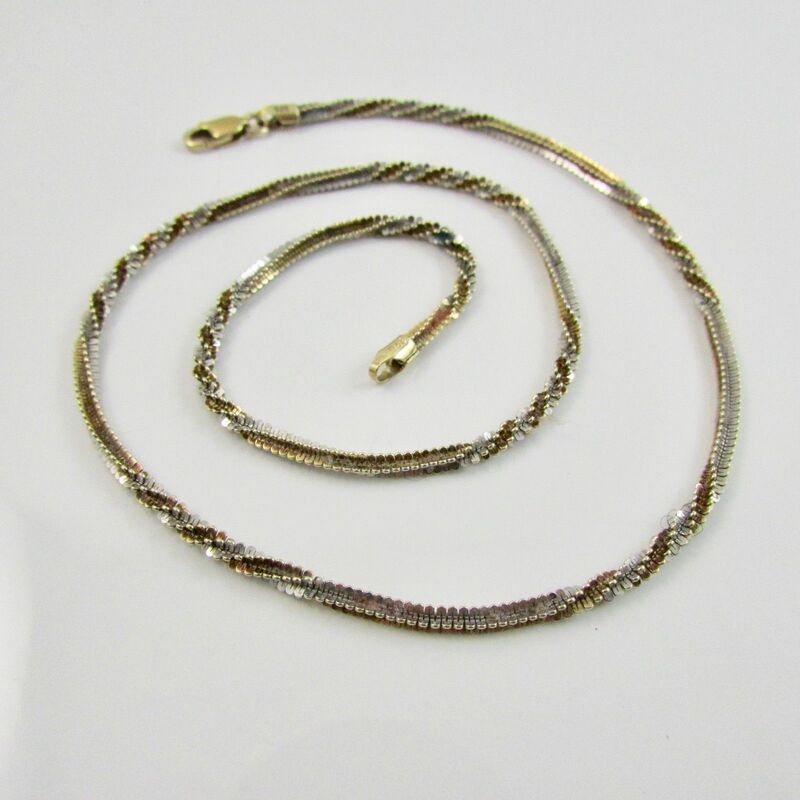 9ct Yellow Gold 375 Twisted Rope Chain Fancy Link Necklace 17
