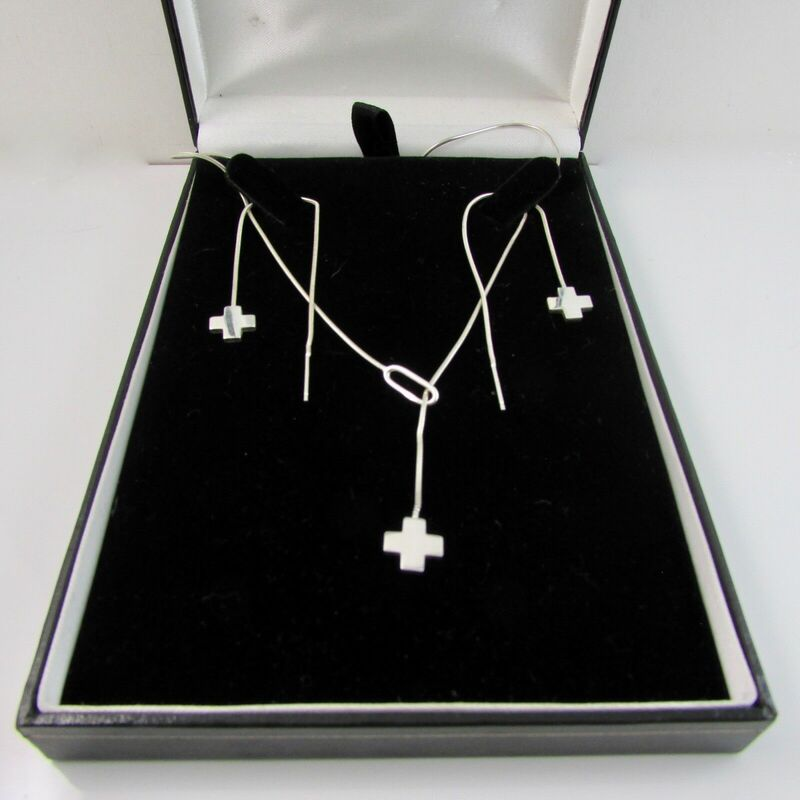 Sterling Silver 925 Cross Pendant Slider Necklace & Earring Set