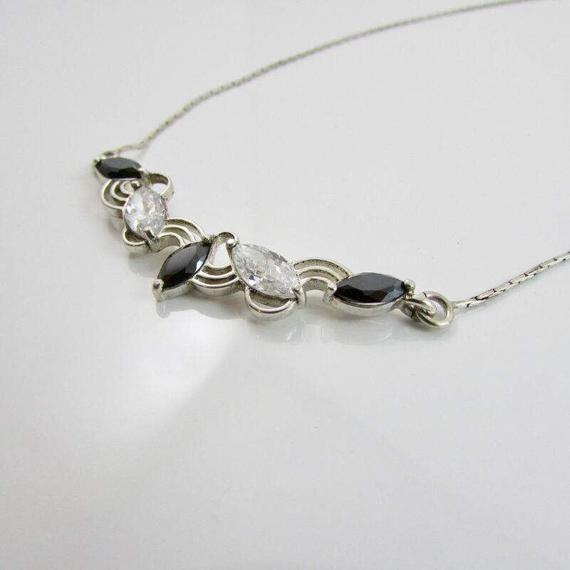 Sterling Silver 925 Crystal Set Necklace 15