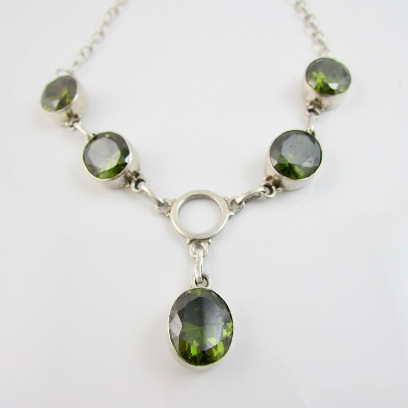 Sterling Silver 925 Faceted Green Tourmaline Pendant Chain Link Necklace 20