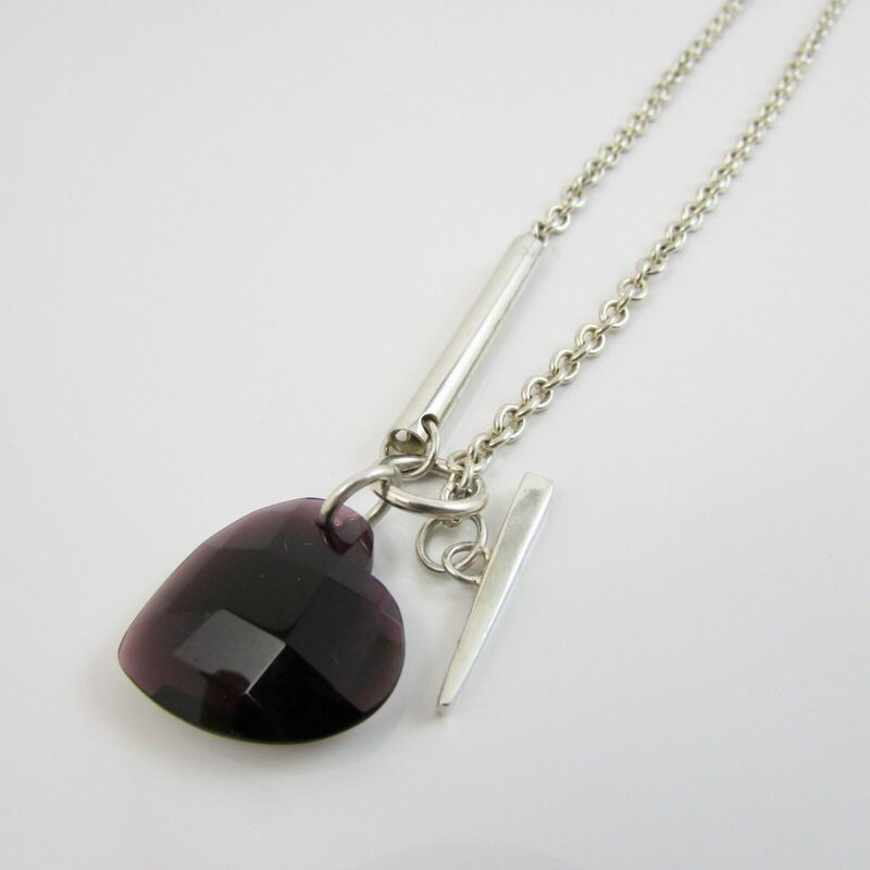 Sterling Silver 925 Faceted Purple Heart & Cable Link Chain 18