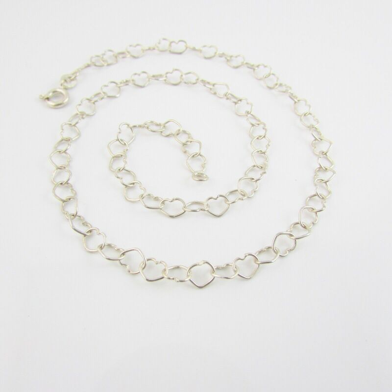 Sterling Silver 925 Love Heart Link Necklace 14