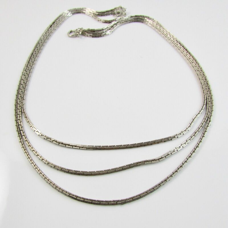 Sterling Silver 925 Triple Strand Linked Chain 17
