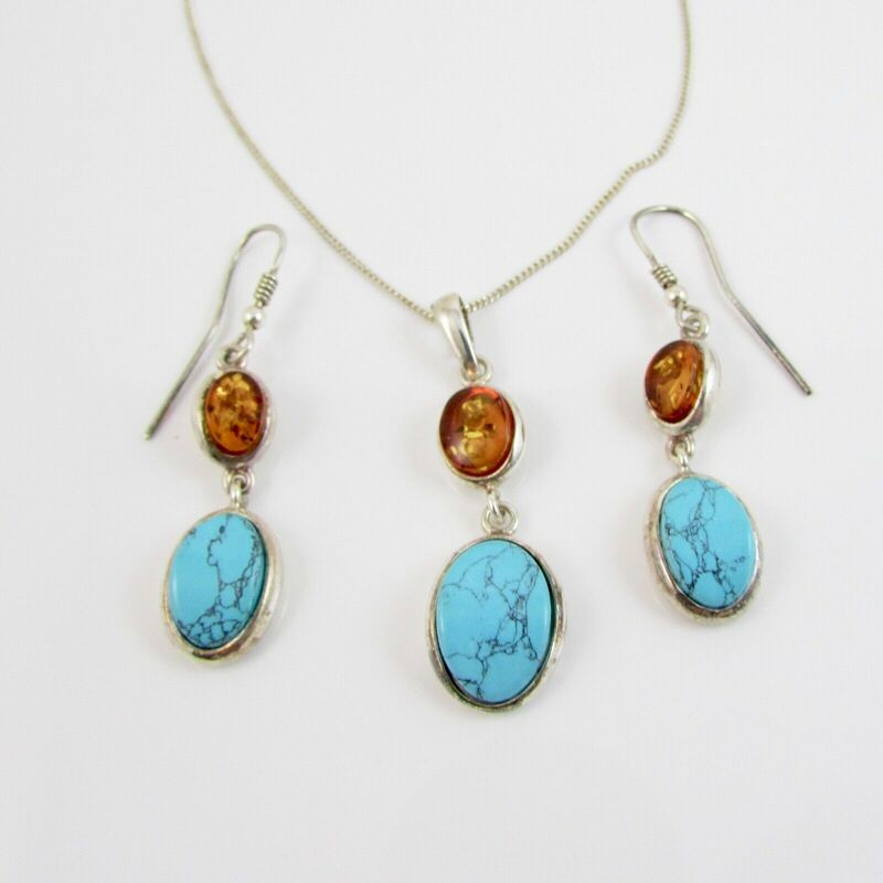 Sterling Silver Turquoise & Amber Pendant Drop Earrings & 18