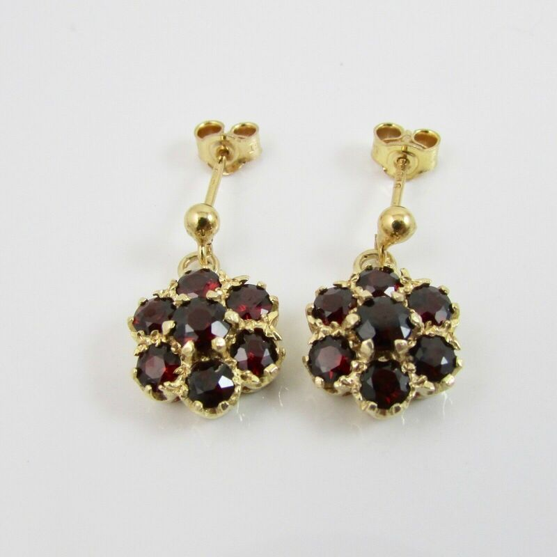 Vintage 9ct Yellow Gold 375 Garnet Cluster Dangle Drop Earrings Hallmarked 1975 1