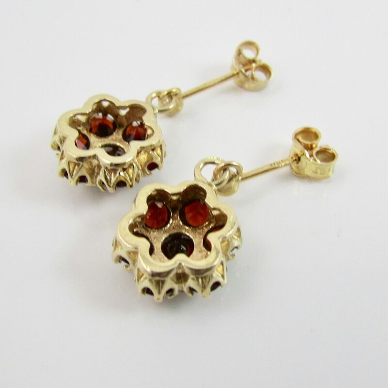 Vintage 9ct Yellow Gold 375 Garnet Cluster Dangle Drop Earrings Hallmarked 1975 2